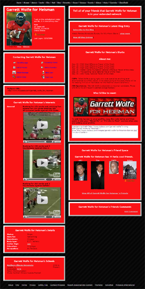 Garrett Wolfe for Heisman on MySpace